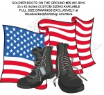 Soldier Boots on the Ground Yard Art Woodworking Full Size Plans, soldiers memorial,boots on the ground,USA flag,yard art,veterans,patriotic,patriotism,American,war,dog tags,painting wood crafts,scrollsawing patterns,drawings,plywood,plywoodworking plans,woodworkers