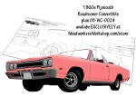 Convertible 1960s Plymouth Roadrunner Line Art Woodworking Plan
