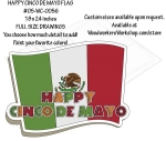 05-WC-0056 - Happy Cinco de Mayo Flag Yard Art Woodworking Pattern