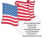 05-WC-0061 - USA Flag Waving Upwards Yard Art Woodworking Pattern.