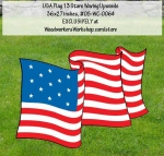 05-WC-0064 - 13 Star USA Flag Waving Upwards Yard Art Woodworking Pattern.