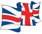 05-WC-0066 - UK Union Jack Flag Waving Upwards Yard Art Woodworking Pattern.