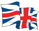 05-WC-0067 - UK Union Jack Flag Waving Downwards Yard Art Woodworking Pattern.