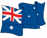 05-WC-0070 - Australian Flag Waving Upwards Yard Art Woodworking Pattern.