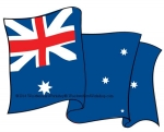 05-WC-0071 - Australian Flag Waving Downwards Yard Art Woodworking Pattern.