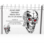 05-WC-0080 - Gearhead Warrior Skull No.4 Yard Art Woodworking Pattern
