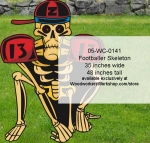 Footballer Skeleton Yard Art Woodworking Pattern, skeletons,sports,football,yard art,painting wood crafts,scrollsawing patterns,drawings,plywood,plywoodworking plans,woodworkers projects,workshop blueprints