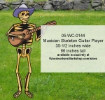 05-WC-0144 - Musician Skeleton Guitar Player Yard Art Woodworking Pattern