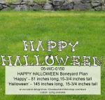 Happy Halloween Boneyard Yard Art Woodworking Pattern, Happy Hallowen,boneyard,letters,alphabet,letters,yard art,painting wood crafts,scrollsawing patterns,drawings,plywood,plywoodworking plans,woodworkers projects,workshop blueprints