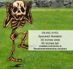 Spooked Skeleton Yard Art Halloween Woodworking Pattern, skeleton,mice,mouse,spooked,scaredy,Halloween,yard art,painting wood crafts,scrollsawing patterns,drawings,plywood,plywoodworking plans,woodworkers projects,workshop blueprints