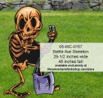 fee plans woodworking resource from WoodworkersWorkshop� Online Store - battleaxes,skeletons,Halloween,spooky,scary,yard art,painting wood crafts,scrollsawing patterns,drawings,plywood,plywoodworking plans,woodworkers projects,workshop blueprints