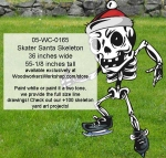 Skater Santa Skeleton Yard Art Woodworking Pattern, Santa,skaters,skating,skeletons,Halloween,spooky,scary,yard art,painting wood crafts,scrollsawing patterns,drawings,plywood,plywoodworking plans,woodworkers projects,workshop blueprints