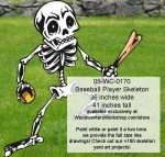 05-WC-0170 - Baseball Player Skeleton Yard Art Woodworking Pattern