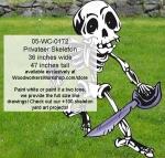Privateer Skeleton Yard Art Woodworking Pattern, dancers,dancing,skeletons,Halloween,spooky,scary,yard art,painting wood crafts,scrollsawing patterns,drawings,plywood,plywoodworking plans,woodworkers projects,workshop blueprints