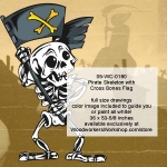 05-WC-0180 - Pirate Skeleton with Cross Bones Flag Yard Art Woodworking Plan PDF