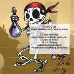 05-WC-0183 - Pirate Skeleton with Drinking Bottle Skeleton Pattern