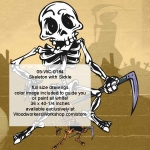 Skeleton with SIckle Halloween Woodworking Pattern, sickle,knives,skeletons,Halloween,spooky,scary,yard art,painting wood crafts,scrollsawing patterns,drawings,plywood,plywoodworking plans,woodworkers projects,workshop blueprints