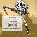 Slash the Skeleton Halloween Woodworking Pattern, sickle,knives,skeletons,Halloween,spooky,scary,yard art,painting wood crafts,scrollsawing patterns,drawings,plywood,plywoodworking plans,woodworkers projects,workshop blueprints
