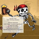 05-WC-0187 - Beer Drinking Skeleton Halloween Woodworking Pattern