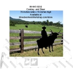Cowboy and Steer Silhouette Yard Art Woodworking Pattern