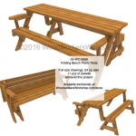 Folding Bench Picnic Table Woodworking Plan with Full Size Templates  woodworking plan