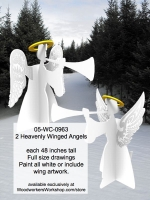 2 Heavenly Winged Angels Yard Art Full Size Woodworking Patterns