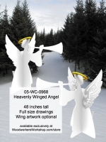 05-WC-0968 - Heavenly Winged Angel Yard Art Woodworking Pattern