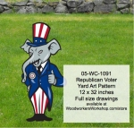 Republican Voter Yard Art Woodworking Pattern, United States,Republican voters,voting,elephants,yard art,painting wood crafts,scrollsawing patterns,drawings,plywood,plywoodworking plans,woodworkers projects,workshop blueprints