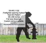 05-WC-1122 - Firefighter Opening Hydrant Silhouette Yard Art Woodworking Pattern