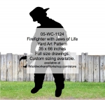 Firefighter with Jaws of Life Silhouette Yard Art Woodworking Pattern, firefighters,firemen,fireman,shadows,silhouettes,yard art,painting wood crafts,scrollsawing patterns,drawings,plywood,plywoodworking plans,woodworkers projects,workshop blueprints