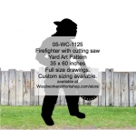 Firefighter with cutting saw Silhouette Yard Art Woodworking Pattern, firefighters,firemen,fireman,shadows,silhouettes,yard art,painting wood crafts,scrollsawing patterns,drawings,plywood,plywoodworking plans,woodworkers projects,workshop blueprints