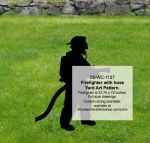 Firefighter with hose Yard Art Woodworking Pattern