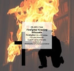 05-WC-1144 - Firefighter Kneeling Silhouette Yard Art Woodworking Pattern