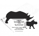 05-WC-1256 - Rhinoceros Mom and Baby Silhouette Yard Art Woodworking Pattern