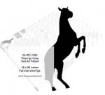 Rearing Horse Yard Art Woodworking Pattern 8ft tall, horses,equestrian,rearing horse,up on two legs,on hind legs,yard art,painting wood crafts,scrollsawing patterns,drawings,plywood,plywoodworking plans,woodworkers projects,workshop blueprints