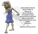 05-WC-ZOMBIE-26 - Woman Zombie Eating Dog Yard Art Woodworking Pattern