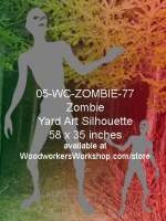 05-WC-ZOMBIE-77 - Alean the Zombie Silhouette Yard Art Woodworking Pattern
