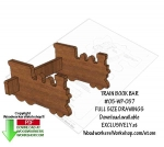 Train Book Bar Downloadable Scrollsaw Woodworking Pattern PDF, bookcases,organizers,trains,locomotives,scrap wood projects,downloadable PDF,tole painting wood crafts,scrollsawing patterns,4-H Club,4H projects,scouts,girl guides,drawings,Accents In Pine,woodworkin