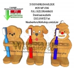 05-WP-096 - 3 Toothbrush Holders Downloadable Scrollsaw Woodworking Pattern PDF