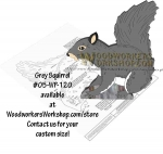 Grey Squirrel Downloadable Scrollsaw Woodworking Plan PDF, squirrels,animals,wildlife,scrap wood projects,downloadable PDF,tole painting wood crafts,scrollsawing patterns,4-H Club,4H projects,scouts,girl guides,drawings,Accents In Pine,woodworking plans,woodw