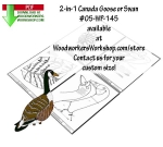 fee plans woodworking resource from WoodworkersWorkshop® Online Store - Canada goose,swans,birds,animals,water fowl,pond yard art,scrap wood projects,downloadable PDF,tole painting wood crafts,scrollsawing patterns,4-H Club,4H projects,scouts,girl guides,drawings,Accents