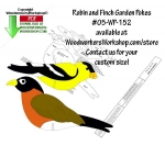 fee plans woodworking resource from WoodworkersWorkshop® Online Store - birds,robins,goldfinch,scrap wood projects,downloadable PDF,tole painting wood crafts,scrollsawing patterns,4-H Club,4H projects,scouts,girl guides,drawings,Accents In Pine,woodworking plans,woodworke
