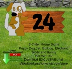 fee plans woodworking resource from WoodworkersWorkshop® Online Store - house signs,lawn signs,teddy bear,bunny rabbit,bulldog,cat,puppy dogs,butterflies,templates,scrap wood projects,downloadable PDF,tole painting wood crafts,scrollsawing patterns,4-H Club,4H projects,sc