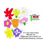 05-WP-157 - 8 Flower Planter Pokes Downloadable Scrollsaw Woodcrafting Pattern PDF