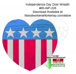 fee plans woodworking resource from WoodworkersWorkshop® Online Store - Independence Day,door wreath,patriotic folk art,stars and stripes,stencils,templates,scrap wood projects,downloadable PDF,tole painting wood crafts,scrollsawing patterns,4-H Club,4H projects,scouts,gi