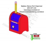 Mailbox Stamp Roll Dispenser Downloadable Woodcraft Pattern PDF, stamp dispensers,desktop accessories,mail organizers,rolls of stamps,folk art,stencils,templates,scrap wood projects,downloadable PDF,tole painting wood crafts,scrollsawing patterns,4-H Club,4H projec