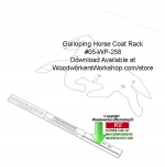 Galloping Horse Coat Rack Downloadable Woodworking Pattern