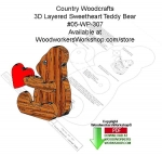 3D Layered Sweetheart Teddy Bear Woodcraft Pattern Downloadable