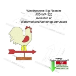 05-WP-320 - Weathervane Big Rooster Downloadable Woodworking Pattern PDF