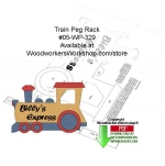 Train Peg Rack Downloadable Woodcrafting Article PDF, trains,clothes rack,woodcrafts,stencils,templates,scrap wood projects,downloadable PDF,tole painting wood crafts,scrollsawing patterns,4-H Club,4H projects,scouts,girl guides,drawings,Accents In Pine,